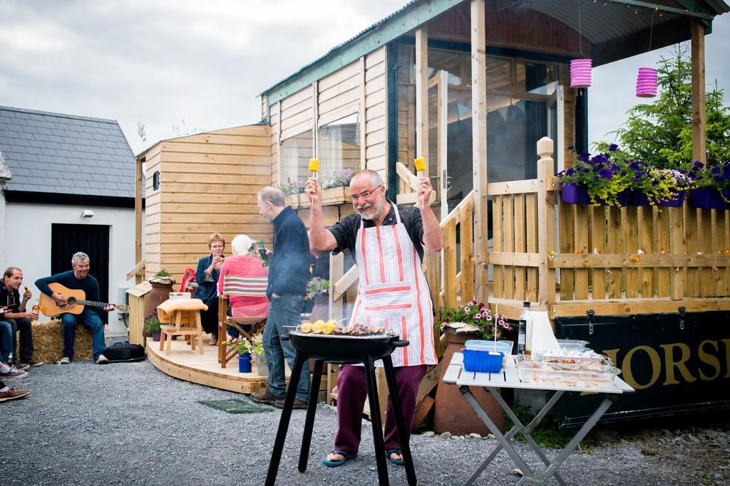 Burren Glamping guests making bbq and having great time